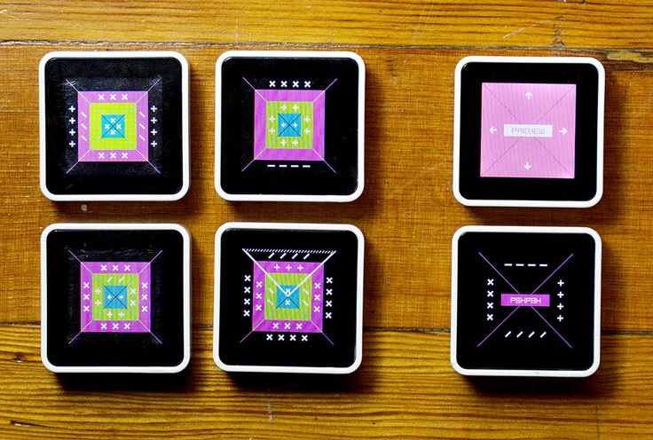 LoopLoop is an interactive music toy for Sifteo cubes that uses minimal visuals and rich, whimsical sounds to turn inquisitive play into music. Stimulant designed a rich and immediate  interface for a one-inch  screen with one button and a basic accelerometer, which could scale  between three and six cubes. LoopLoop was awarded a 2012  Interaction Design Award by the Interaction Design Association as the year's best example of  expressive applications.