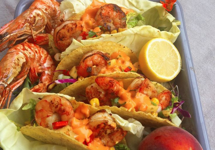 Cajun Jumbo Shrimp Tacos, Peach & Koriander Salsa and a Roast Red Pepper Aïoli.