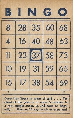 Vintage Bingo Card Images - Percy & Bloom - Percy & Bloom