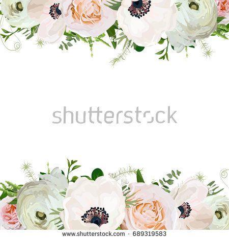Vector flower square card design. Light pink Garden Rose Anemone Ranunculus, Eucalyptus green seasonal plant leaf mix. Elegant Greeting poster wedding invitation template. Frame border copy text space
