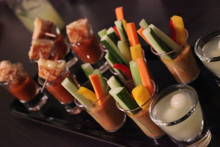 Party Poppers from left to right  Chilli Roasted Tomato Soup with grilled Cheese Gado Gado Chilli Melon Vodka
