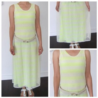 """2 in 1 Neon A-Line Maxi Dress w/ Belt(Made In Korea). QTY:1 Base-Length:46"""" Bust:30-36"""" Waist:26-32"""" Outside-Length:48.5"""" Bust:30-36"""" Waist:26-34""""   Was:56    Now CAD$28"""