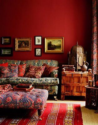 beautiful!: Wall Colors, Idea, Living Rooms, Red Wall, Bohemian Living, House, Rich Colors, Design, Red Rooms