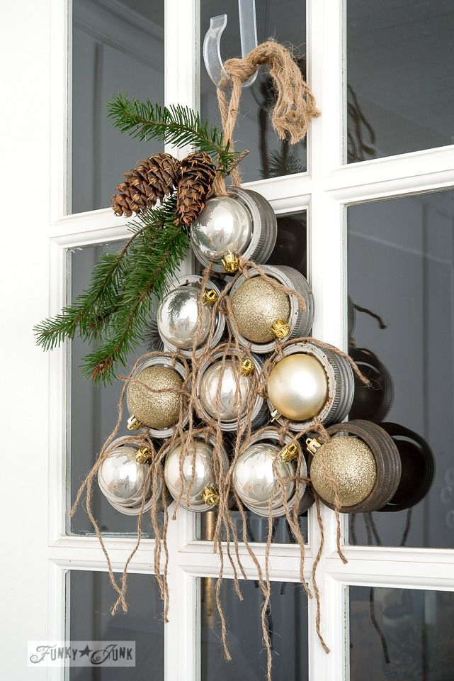 Mason jar lid ornament Christmas tree for a front door on FunkyJunkInteriors.net #12days72ideas