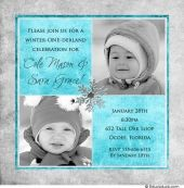 Winter one-derland twin birthday invitations feature two photos of your birthday children & personalized text to suit any double party theme! The colors