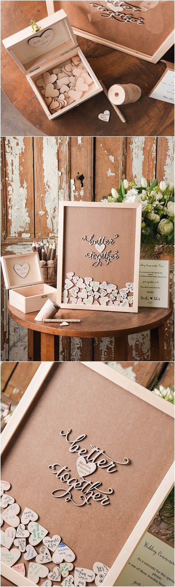 Rustic Laser Cut Wood Wedding Guest Book- Better Together