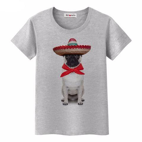 Pug In Sombrero T-Shirt Ror Women (4 colors)