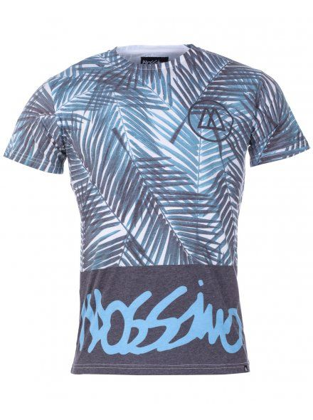 Mossimo Mens Blue Casual & Comfortable Palm Block Print T-Shirt