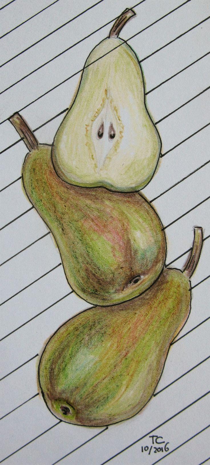 Food illustratie peren kleurpotlood gemaakt door Tonny Cooyman