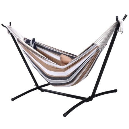Costway Double Hammock with Space Saving Steel (Silver) Stand Includes Portable Carry Bag (Polyester), Patio Furniture