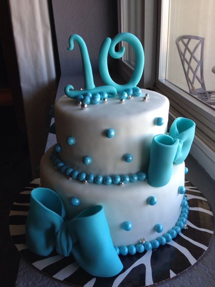 Bow Cake Teal For A 10 Year Old Girl 10 Birthday Cake