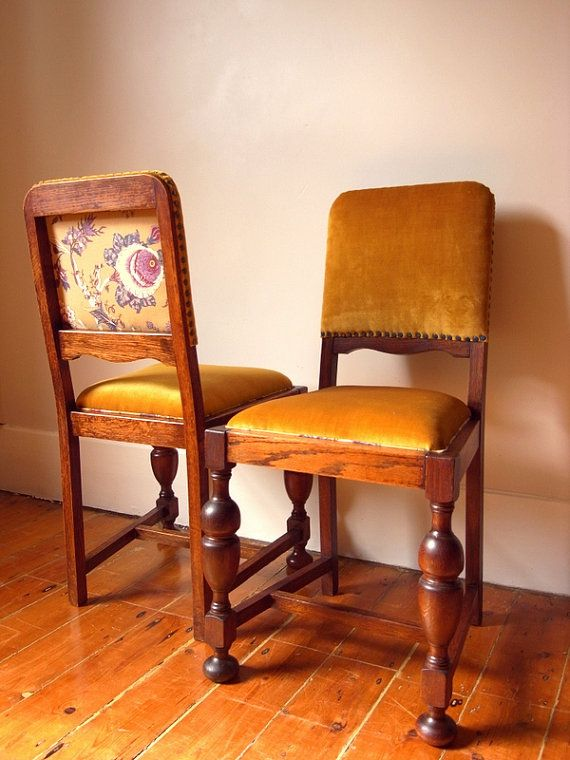 Victorian Gold Velvet and Teal Oak Chairs  Pair by OhBoxinghare, £160.00.