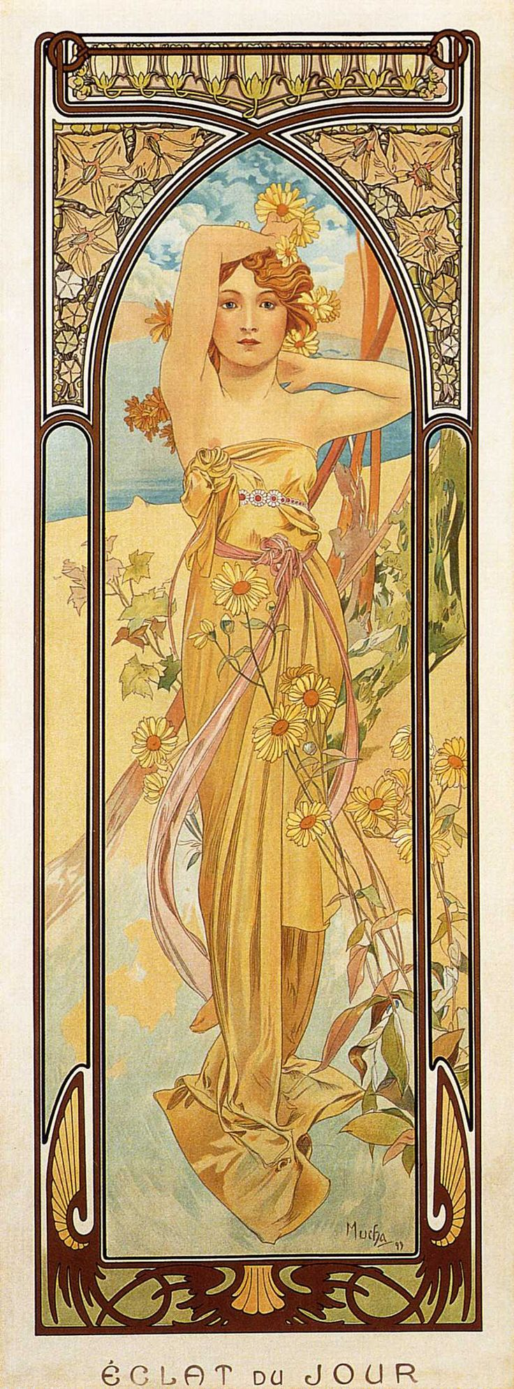 Day - Alphonse Mucha  Another beautiful model for the maiden.