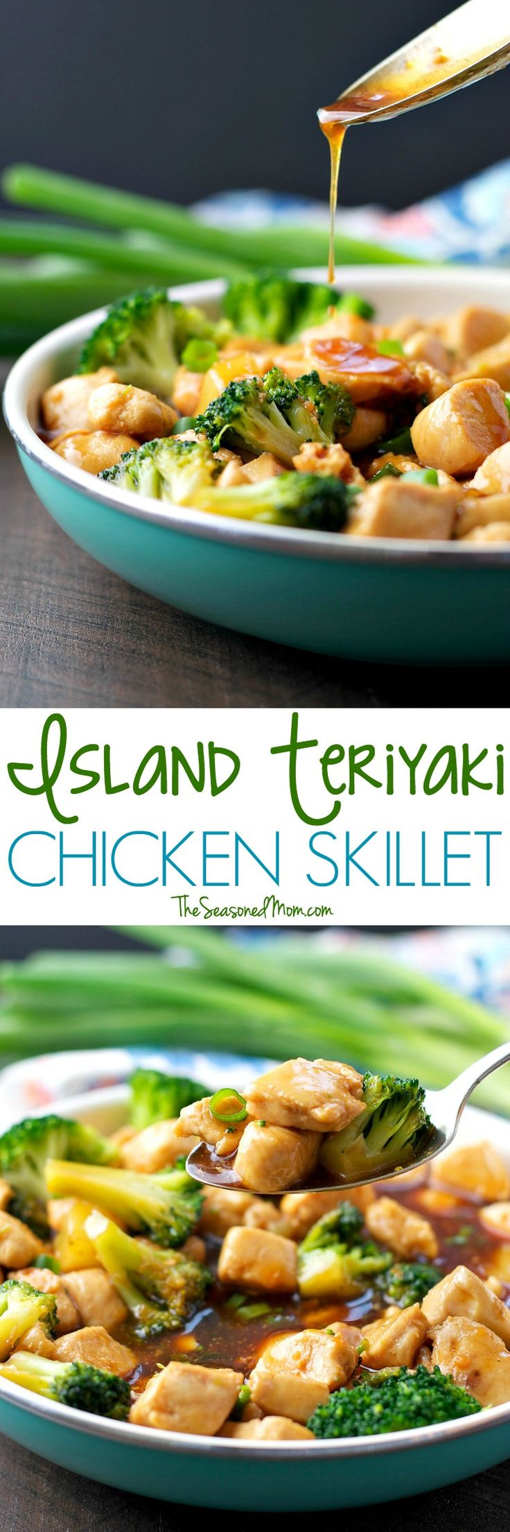 Island Teriyaki Chicken Skillet is a healthy, clean eating dinner that comes together in about 20 minutes -- and kids LOVE it!