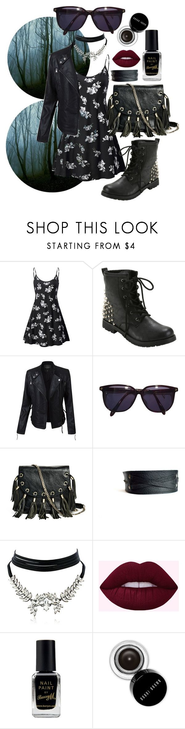 """""""Untitled #43"""" by nymeria666 ❤ liked on Polyvore featuring Hot Topic, LE3NO, Sonia Rykiel, GUESS by Marciano, WithChic, Barry M and Bobbi Brown Cosmetics"""