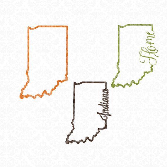 Indiana State Shape Chevron Outline Home Monogram SVG file Ai EPS ...