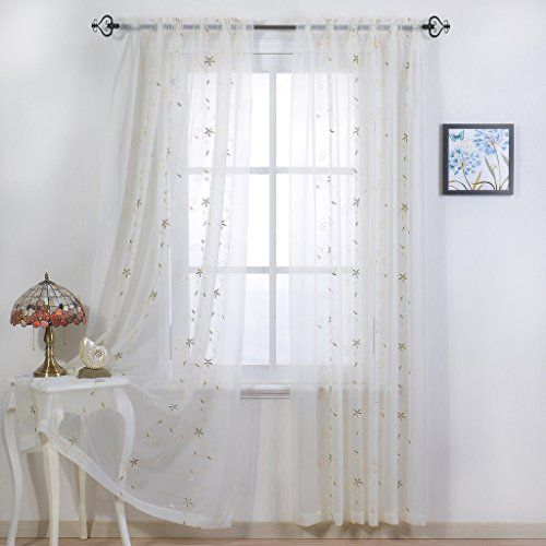 Nicetown Spring Blooms Voile - Floral Embroidered Sheer Window Curtains / Drapes (One Pair W60L84 Ivory)