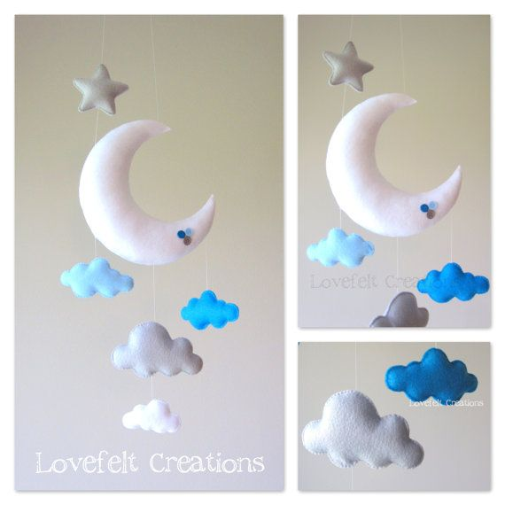 Baby mobile Moon mobile Cloud Mobile Owl Baby por LoveFeltXoXo