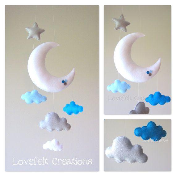 Baby mobile  Moon mobile  Cloud Mobile Owl  Baby por LoveFeltXoXo