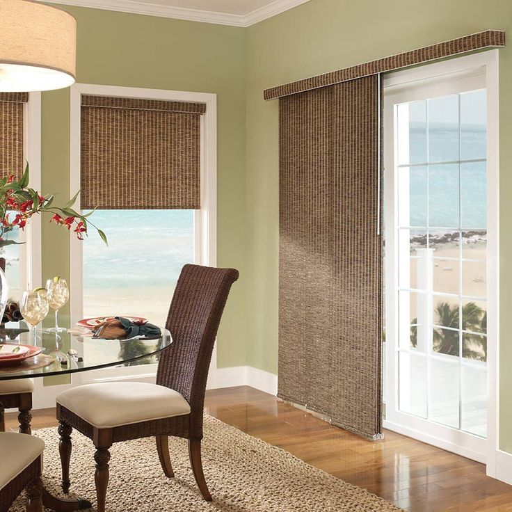 The Good Housekeeping Light Filtering Panel Track is ideal for sliding doors. An upgrade to the traditional vertical blind.  SelectBlinds.com