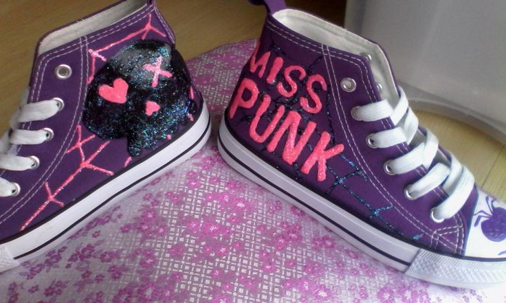 Hand painted Miss Punk shoes.