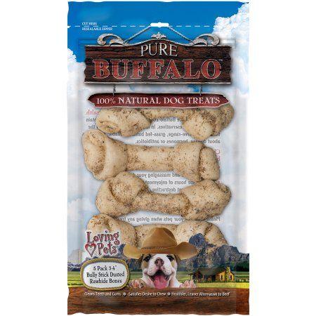 Pure Buffalo 3 inch - 4 inch Bully Stick Dusted Rawhide Bones, 5pk, Multicolor