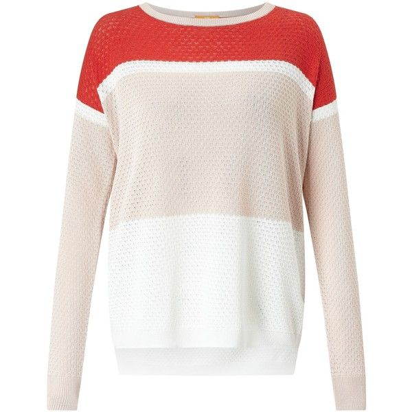 BOSS Orange Waylee Colour Block Jumper (£83) ❤ liked on Polyvore featuring tops, sweaters, long sleeve tops, lightweight sweaters, patterned sweater, oversized sweater and white long sleeve jumper