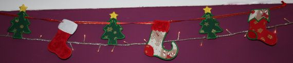 Embroidered Christmas garland/banner by SewBitsy on Etsy, £11.00