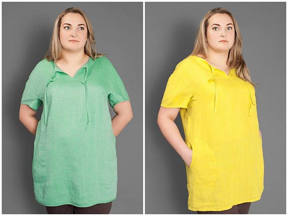 Plus Size Linen Blouse with Pockets/ Washed Linen Tunic/ Green/Yellow Summer Shirt/ Soft Linen Oversize Top Short Sleeves/ Linen Clothes for Women