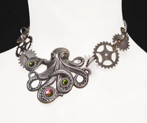 Octopus Steampunk Kraken Necklace with Silver by AMonSeulDesir, €45.00