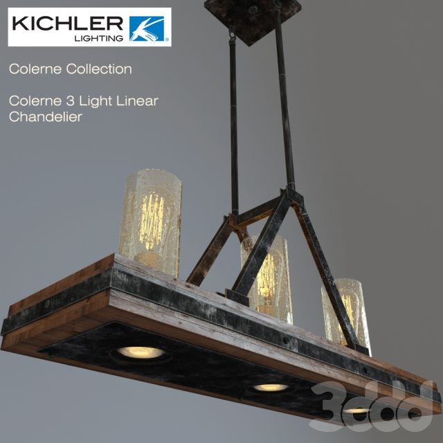 Kichler colerne 3 light linear chandelier
