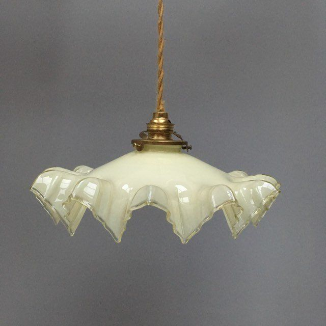 Rare Neutral Cream Pretty Vintage French Frilly White Beige Glass Lampshade With Ruffled Draped Shape Excellent Condition Avec Images