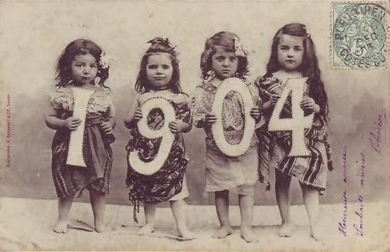 Calendar girls. 1904, kids, vintage, card, photo, history.