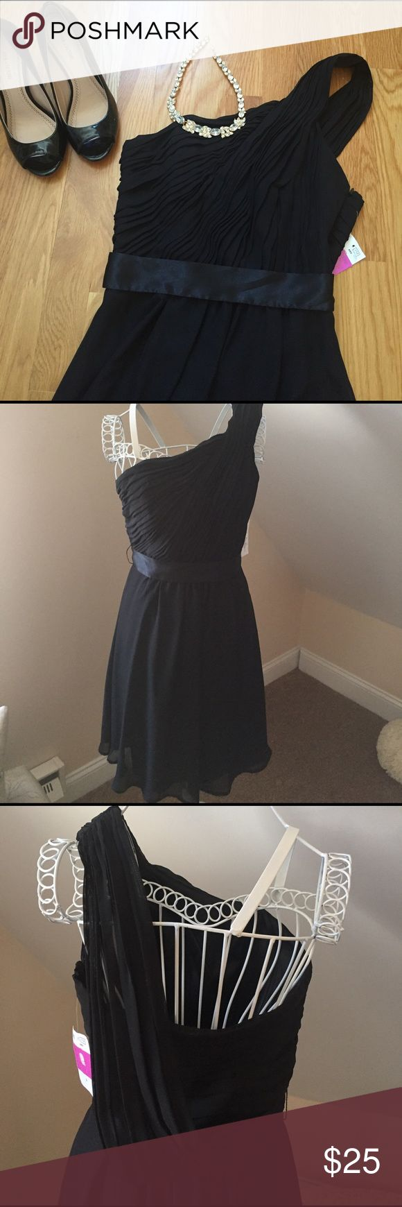 ABS Little Black Dress Sophisticated Black  one shoulder dress with pleated bodice, satin trim waist and Aline skirt. The Open back with drape gives it just the right look. Dressis fully lined NWT. ABS Allen Schwartz Dresses Midi