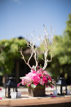 Pink and Branch Centerpiece | photography by http://acquaphoto.com