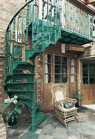 Image detail for -Victorian cast spiral stairs with 3 Balusters per tread.