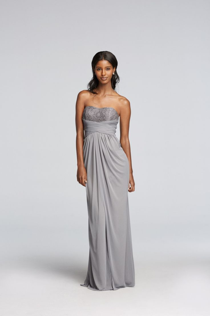117 best gray wedding images on pinterest gray weddings davids silver long strapless metallic lace and pleated waist davids bridal bridesmaid dress ombrellifo Image collections