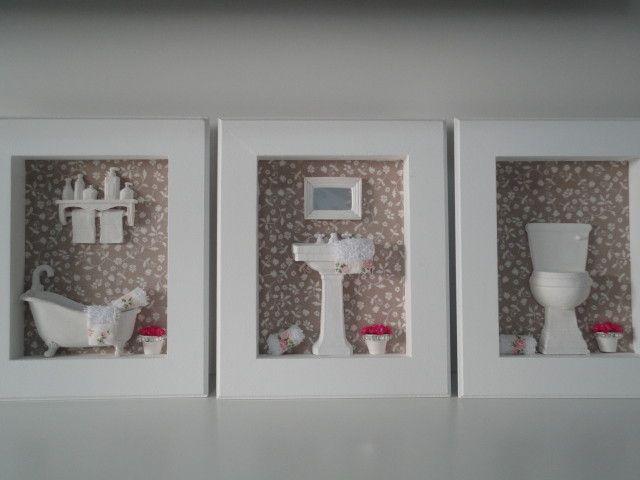 Quadros para lavabo, com fundo em tecido 100% algodão, com peças em resina e flores secas.