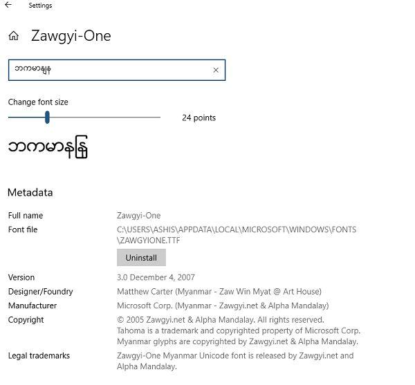 Zawgyi font for window 10
