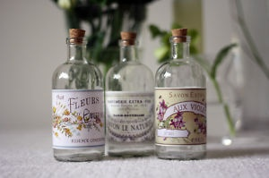 vintage bottles with french perfume label