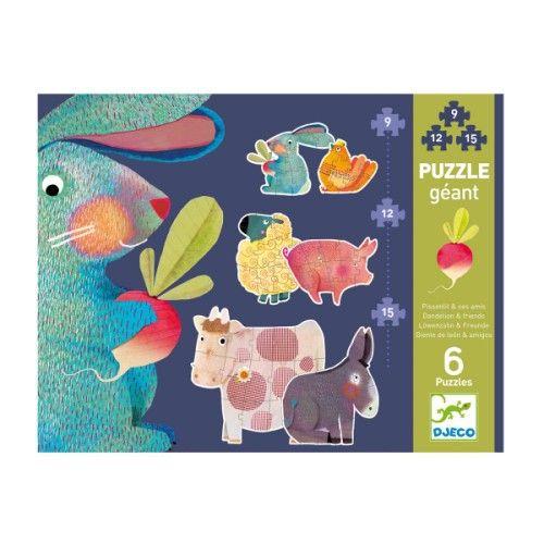 6 puzzles d'animaux à réaliser. L'enfant commence par le plus petit, la poule et progressivement, il assemble de plus en plus de pièces pour reconstituer les autres animaux jusqu'au plus grand : la vache. Posés les uns au-dessus des autres, ce puzzle est très grand. Ce puzzle évolutif permet à l'enfant d'aller à son rythme, puzzle par puzzle.