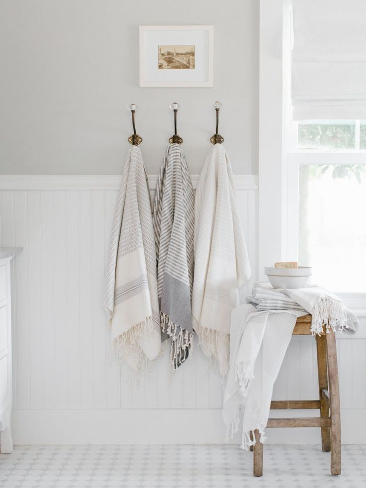 Light Grey Striped Turkish Towel