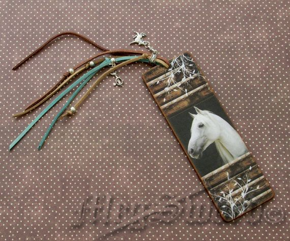 WOODEN BOOKMARK horses handmade decoupage one copy by MEGSWORD