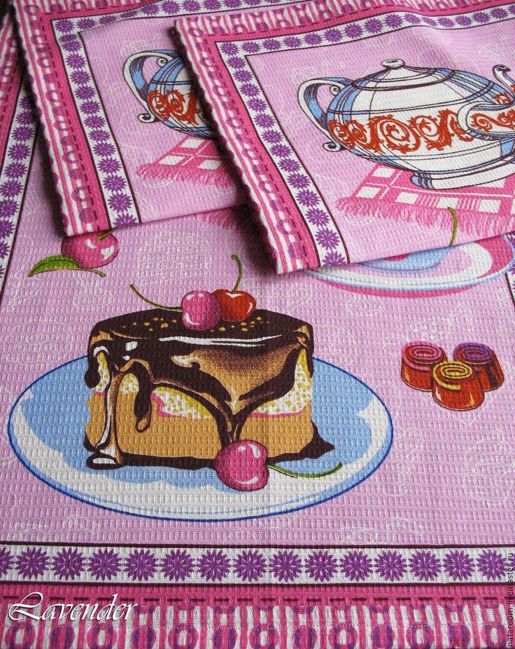"""Купить """"Сладкий чай"""" полотенце кухонное вафельное розовое синее - полотенце, полотенце для кухни"""