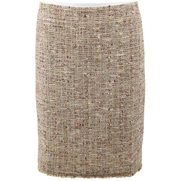 Pre-owned Chanel Mid-Length Skirt (€235) ❤ liked on Polyvore featuring skirts, beige, women clothing skirts, brown tweed skirt, mid length skirts, tweed skirt, brown skirt and chanel
