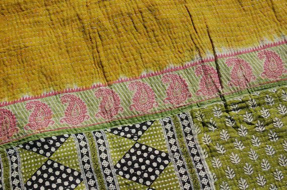 GAYA - twin quilt KANTHA soft Indian throw / boho CURTAINS cape bohemian bedding / hippie patchwork tapestry picnic rug