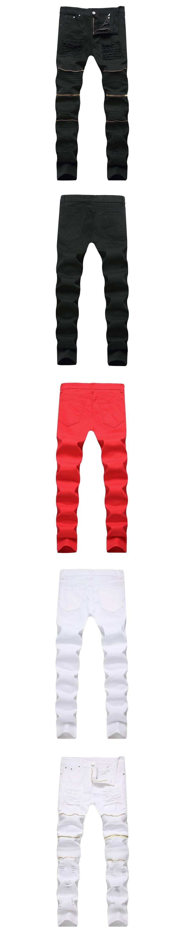White Black Red Zipper Jeans Men Slim Fit Stretch Ripped Distressed Mens Biker Jeans Skinny HHip Hop Pants
