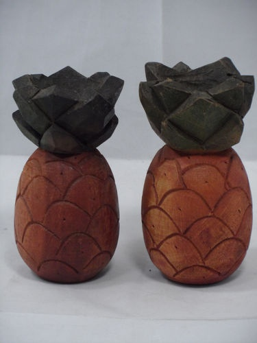 Fun Carved Wood Wooden Pineapple Candle Holders - Polynesian Tiki Party Decor | eBay