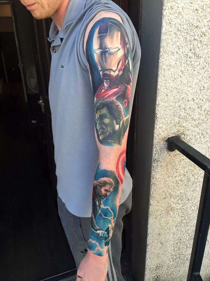 An overlook of my marvel avengers sleeve random for Marvel sleeve tattoo black and white