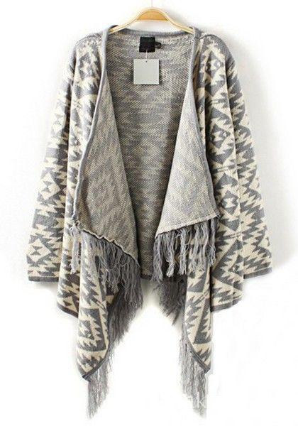 Grey Geometric Irregular Tassel Cotton Blend Cardigan